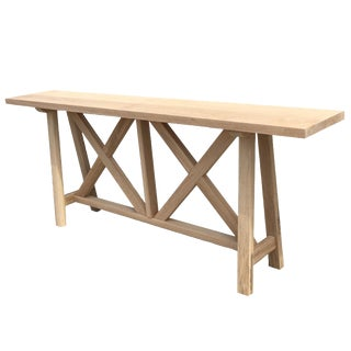 "The Essentials in Wood - ""Gabriele"" Console Table With Trestle Base in Maple For Sale"