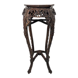 Early 20th Century Antique Chinese Rosewood & Marble Top Display Pedestal Stand For Sale