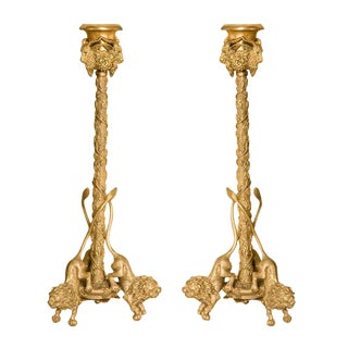 Early 20th Century Renaissance-Style Gilt Bronze Candlesticks - a Pair For Sale