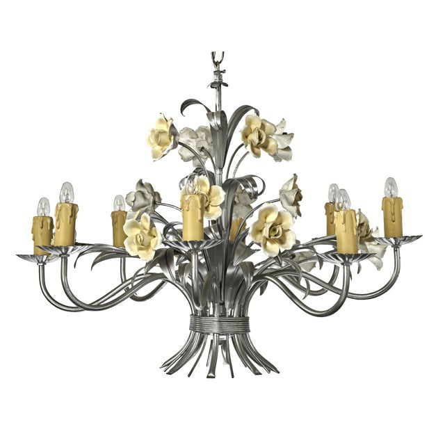 Mid Century Modern Italian Tole Floral Eight Light Chandelier For Sale