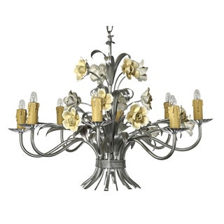 Mid Century ModernItalian Tole Floral Eight Light Chandelier For Sale