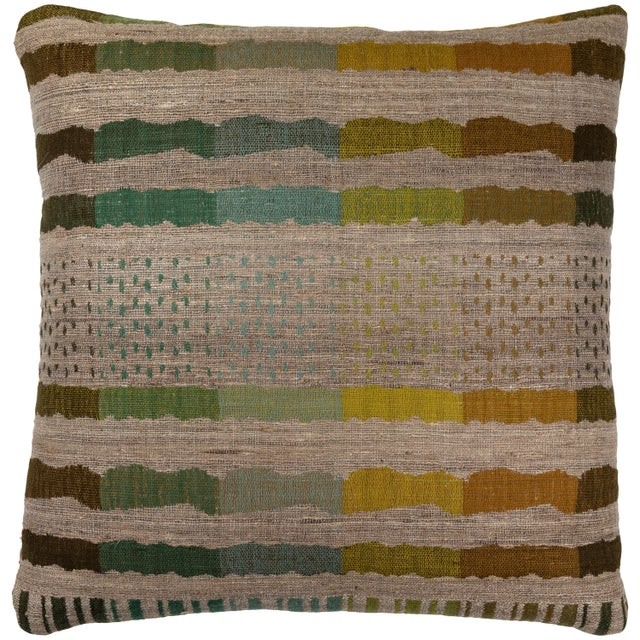 Indian Handwoven Pillow Bauhaus Green For Sale In Los Angeles - Image 6 of 6