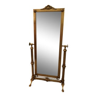 Antique French Prussian Art Deco Brass Floor Mirror For Sale