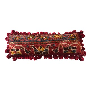 19th C Tribal Kashqai Rug Fragment Lumbar Pillow 16.5""