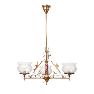 Three Light Aesthetic Movement Chandelier with Longwy Stem and Dragons For Sale