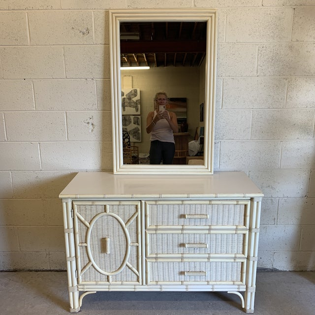 Henry Link Faux Bamboo and Wicker Dresser With Mirror For Sale - Image 13 of 13