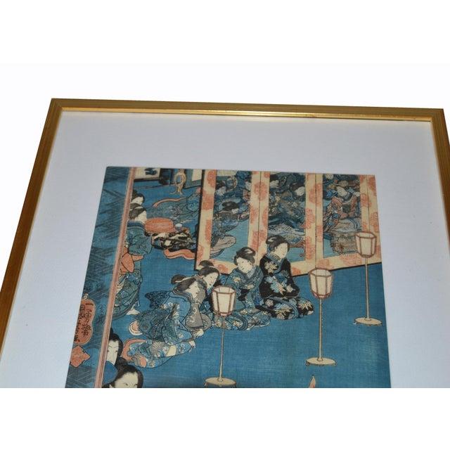 Asian Utagawa Kuniyoshi Japanese Original Gilt Framed Woodcut Print on Paper C. 1845 For Sale - Image 3 of 11