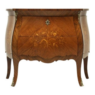 Vintage Louis XV Style Bombe Inlaid Commode For Sale