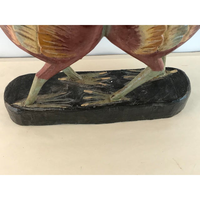 1970s Vintage Hand Carved Wood Painted Cooing Love Figurine For Sale - Image 9 of 11