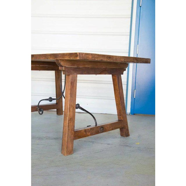 Metal Spanish Beech Farm Table Iron Stretcher 19th C. For Sale - Image 7 of 11