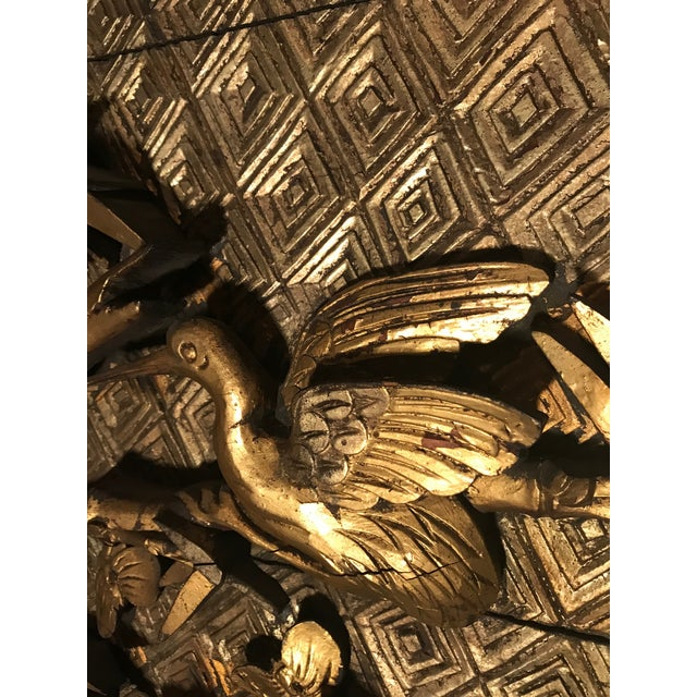 Wood 18th Century Antique Qing Chinese Carved Giltwood Temple Wall Panel For Sale - Image 7 of 13