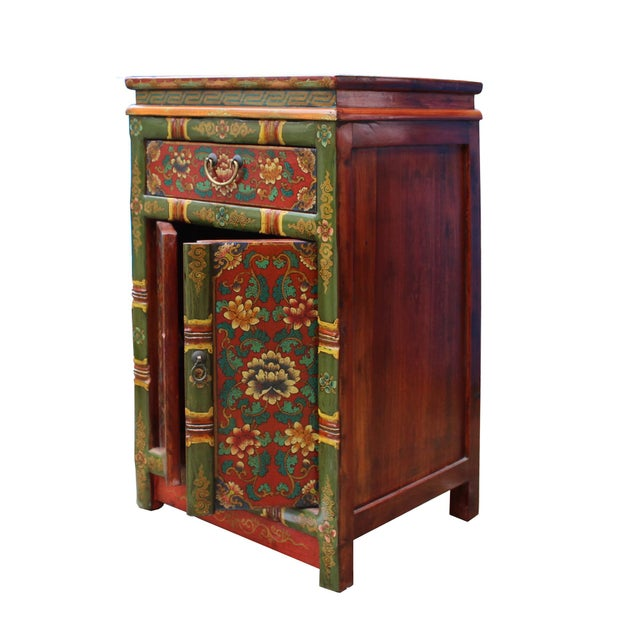 Tibetan Oriental GreenYellow Orange Floral End Table Nightstand For Sale - Image 4 of 8