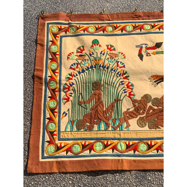 Traditional French Grand Tour Egyptian Tomb Tapestry, Circa 1925 For Sale - Image 3 of 9