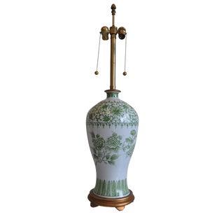 Marbro Green & White Porcelain Lamp For Sale