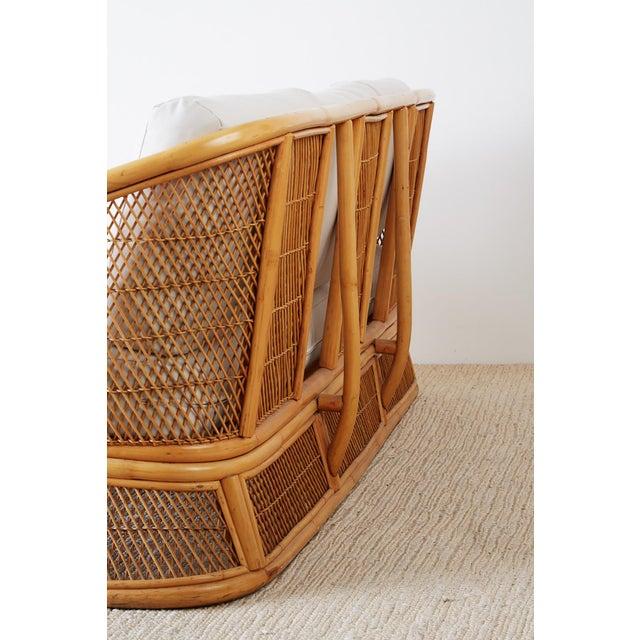 Midcentury Bamboo Rattan Wicker Three-Seat Sofa For Sale - Image 10 of 13