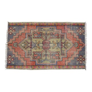 Distressed Low Pile Rug Turkish Yastik Small Rug Faded Colors Mat - 20'' X 33'' For Sale