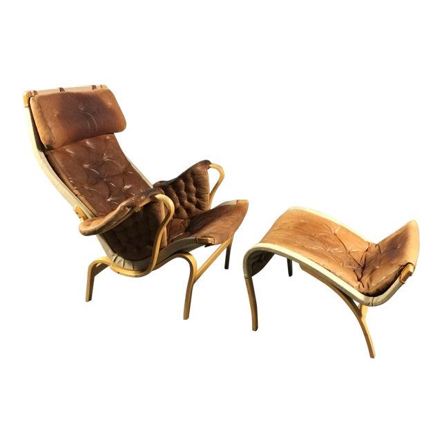 "1970s Scandinavian Modern Bruno Mathsson ""Pernilla"" Lounge Chair + Ottoman - 2 Pieces For Sale - Image 14 of 14"