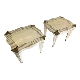 Merle Edelman Tessellated Side Tables - Pair For Sale