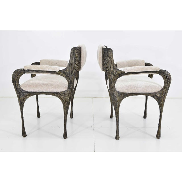 Set of Six Paul Evans Brutalist Sculpted Bronze and Resin Dining Chairs, 1972 For Sale - Image 11 of 13