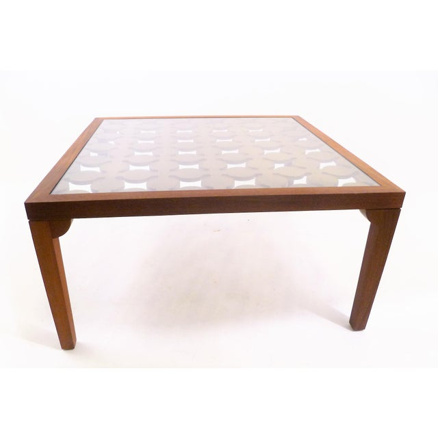 Parzinger Style Classy 50's Mahogany & Giltwood Grille Coffee Table - Image 4 of 13