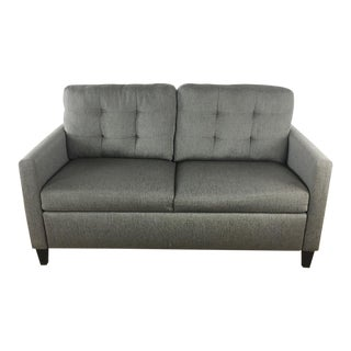 21st Century Crate & Barrel Contemporary Gray Upholstered Sleeper Sofa For Sale