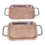 Image of 1960s Hand Hammered Brass and Copper Trays - a Pair For Sale