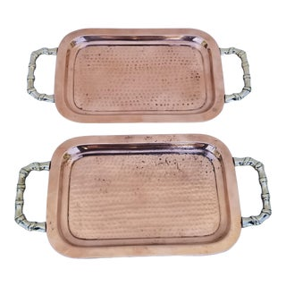 1960s Hand Hammered Brass and Copper Trays - a Pair For Sale