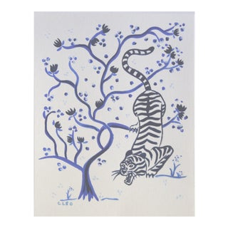 Blue Tiger Chinoiserie Botanical by Cleo Plowden For Sale