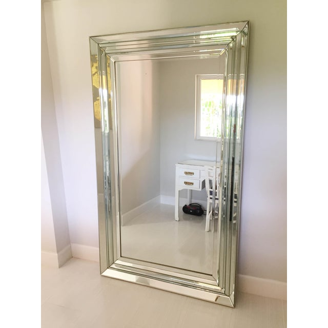 Leaning Six-Bevel Framed Mirror For Sale - Image 4 of 9