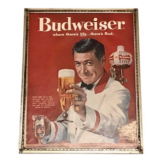 1961 Americana Colorful Budweiser Ad in a Rabauch Antique Metal Frame For Sale