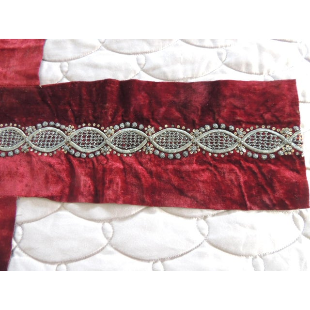 Ottoman Empire Persian Silver Metallic Threads Embroidered Textile For Sale - Image 4 of 6
