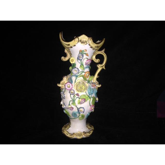 Boho Chic Antique Pastel Floral Porcelain Vase For Sale - Image 3 of 11
