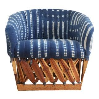 Vintage Indigo Mud Cloth Club Chair For Sale