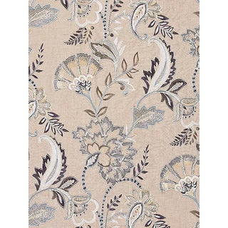Scalamandre Adara Embroidery, Flax Fabric For Sale