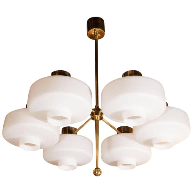Scandinavian Mid-Century Modern Six-Arm Brass and Frosted White Glass Chandelier For Sale