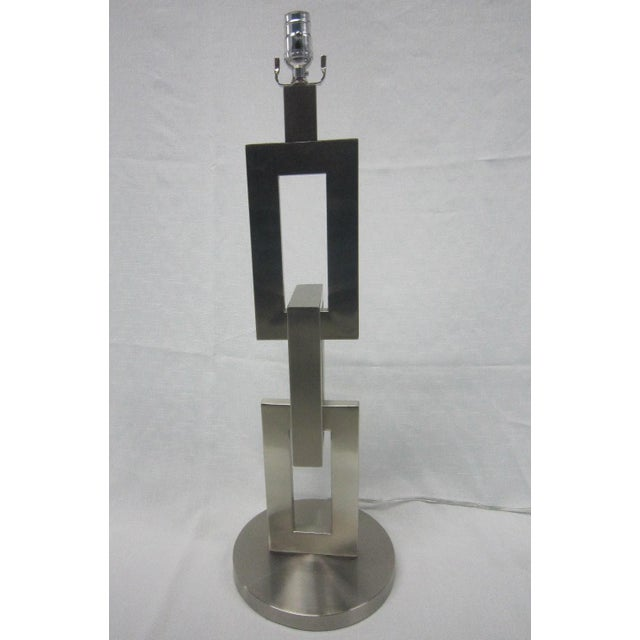 Modern Brushed Chrome Link Table Lamp - Image 2 of 5