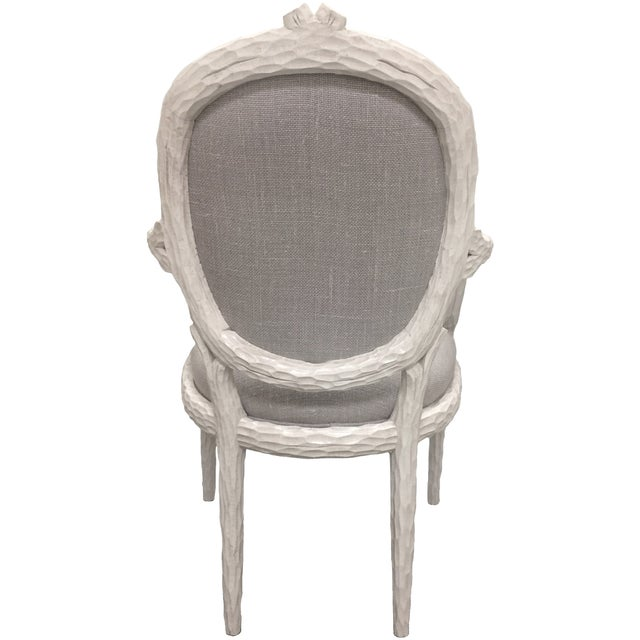 White Faux-Bois Armchairs - A Pair - Image 4 of 5