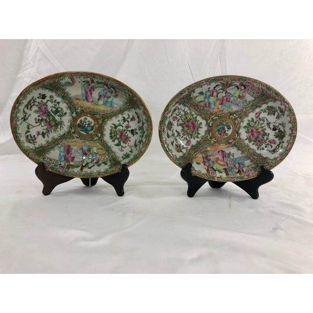 A fine pair of middle 19th century Chinese export porcelain oval dishes, excellent color and condition. Wonderful on a...