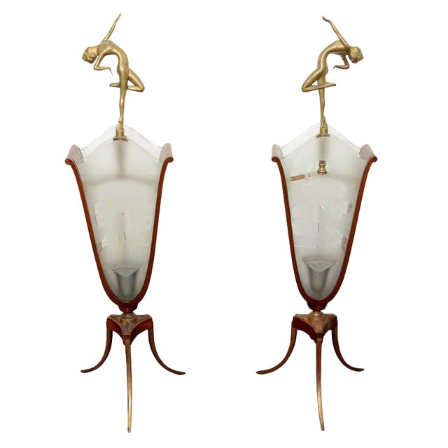 Glamorous Art Deco Lamps With Bronze Nude Figures And Etched Scenic Glass Panels - Image 1 of 3