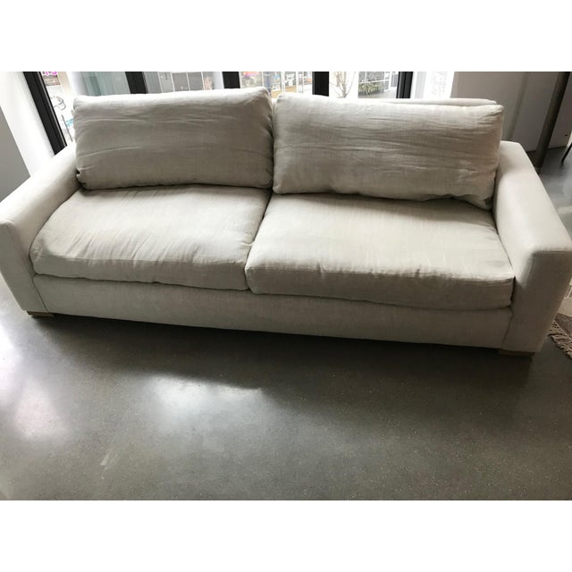 Modern Restoration Hardware Maxwell Upholstered Sofa in Belgian Linen For Sale - Image 3 of 11