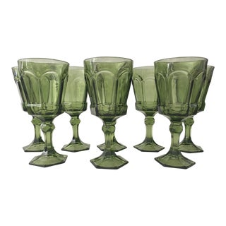 Mid-Century Green Water Glasses - Set of 8