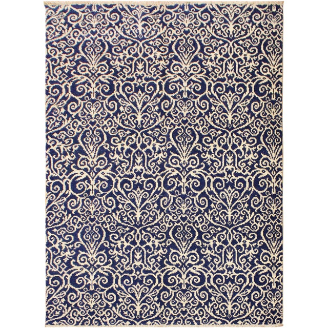 Cryena Modern Tiffiny Blue/Ivory Wool Rug - 5'2 X 7'2 For Sale