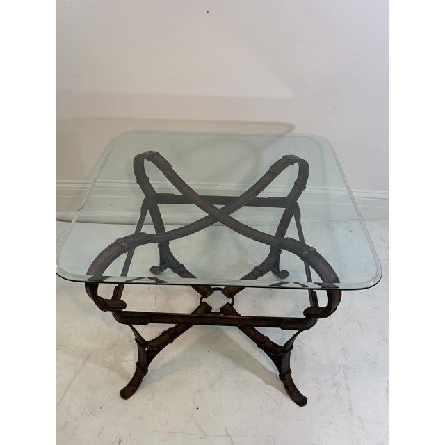 Metal Hermes Equestrian Iron Strap Side Table For Sale - Image 7 of 13