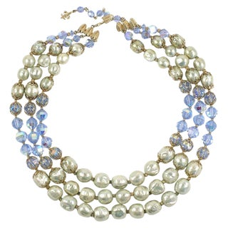 """Vendome Baroque """"Pearl"""" and Blue Crystal Necklace For Sale"""