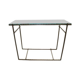 Modern Handmade Steel & Glass Console For Sale