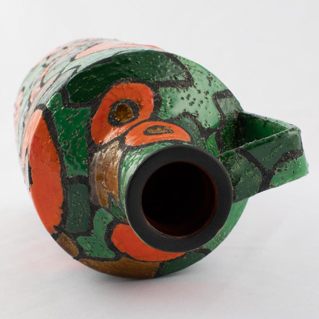 Ceramic Alvino Bagni for Raymor Orange and Green Vase, Circa 1960s For Sale - Image 7 of 9
