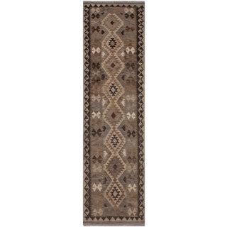Tribal Kilim Beulah Gray/Chocolate Hand-Woven Wool Runner- 2'8 X 9'11 For Sale