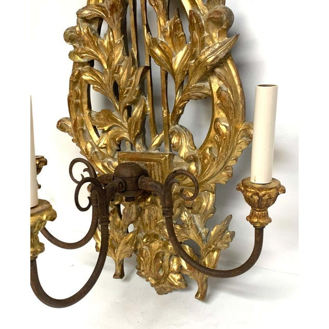 Metal Pair of French Carved Giltwood Lyre Motif Three Light Wall Sconces For Sale - Image 7 of 10