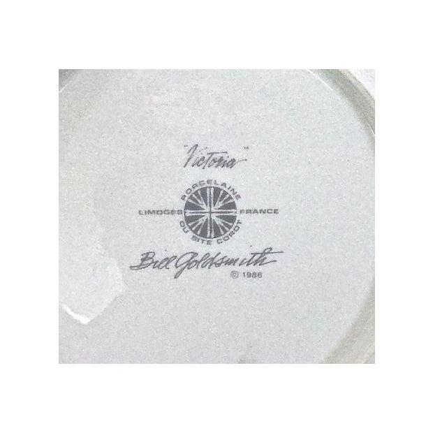 French Vintage Porcelain Limoges Floral Plates - Set of 6 For Sale - Image 3 of 7