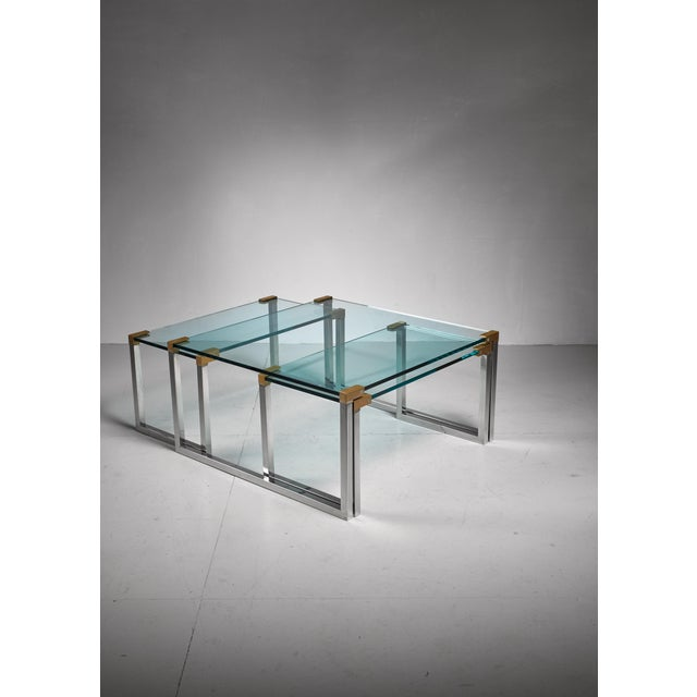Mid-Century Modern Peter Ghyczy set of 3 modular glass, brass and chrome tables, Dutch, 1970s For Sale - Image 3 of 5
